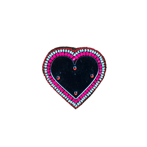 HEART MIRROR Brooch - Embroidery BLUE