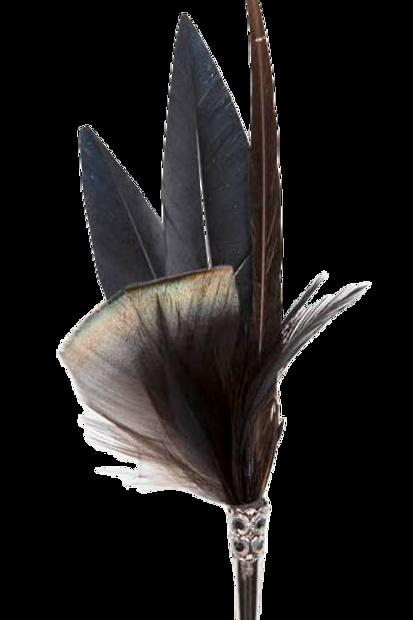 PENCIL Brooch Feathers Black