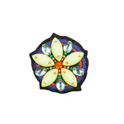 LARGE FLOWER  Brooch - Embroidery Yellow