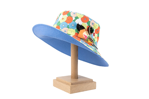BOB Long Brim Cotton Flowers w/Handmade Embroidery & Feather