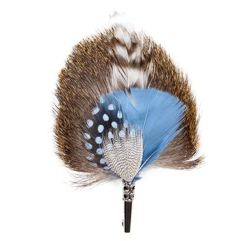 DROP Brooch Feathers Blue & Beige