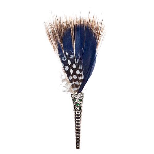 BRUSH Brooch Feathers Blues