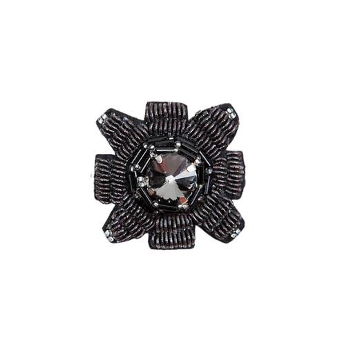 SQUARE GUN Brooch - Embroidery Black