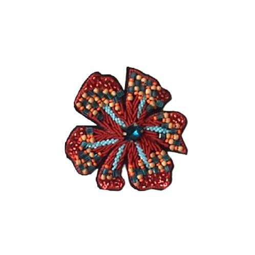 HELEBORE Brooch Embroidery - Orange