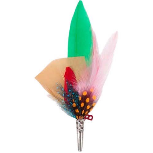 PENCIL Brooch Feathers Green & Oranges