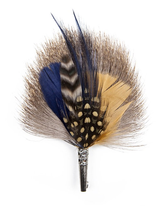 DROP Brooch Feathers Navy and Beige