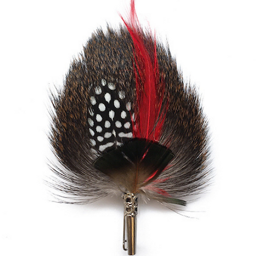 DROP Brooch Feathers Red & Natural
