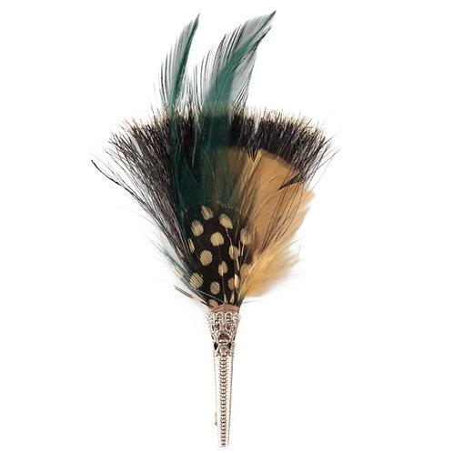 BRUSH Brooch Feathers Beige & Green