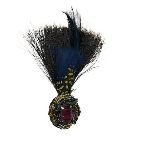 LOOSE Brooch Feathers Blue&Green W/Brooch Purple