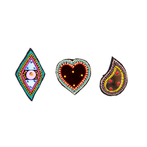 ART+PAISLEY+TRIANGLE Brooches -  Embroidery Multi colours
