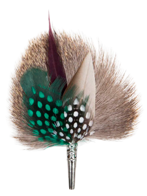 DROP Brooch Feathers Green & Brown
