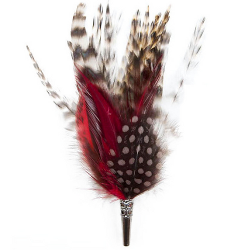 LOOSE Brooch Feathers Burgundy & Beige