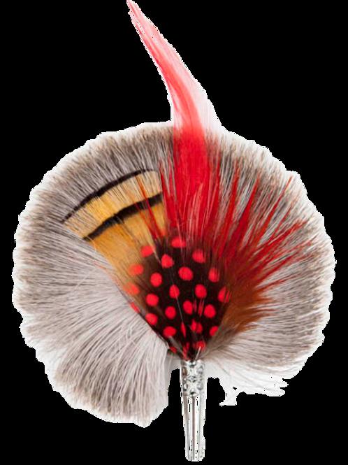 ROUND Brooch Feathers Red & Orange