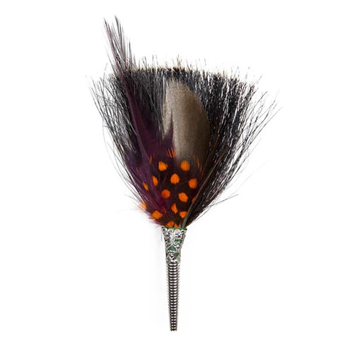 BRUSH Brooch Feathers Burgundy & Orange