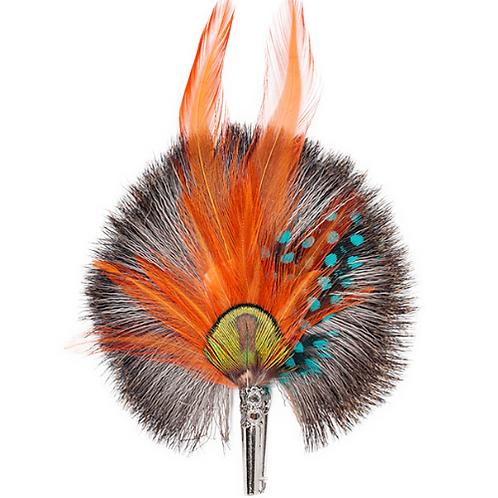 ROUND Brooch Feathers Dark Orange