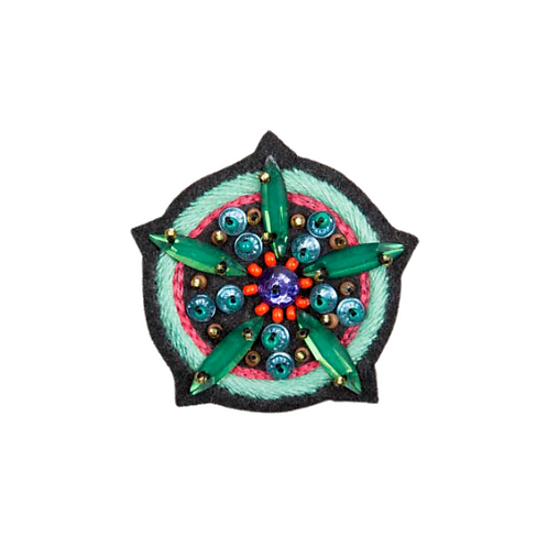 LARGE FLOWER Brooch Embroidery - Green