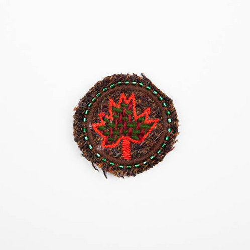 CANADA LEAF Brooch Embroidery Volcano Red