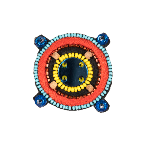 COMPASS Brooch - Embroidery Blue