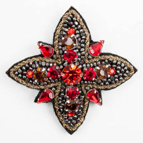 TIARA STAR Brooch- Embroidery Volcano Red