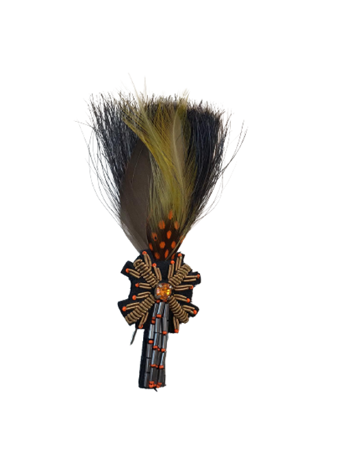 LOOSE Brooch Feathers Green & Orange W/Tree Brooch
