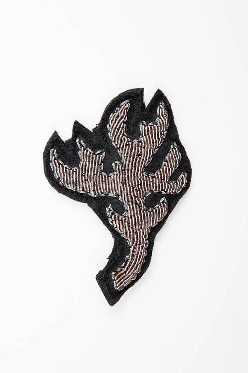ANTLER Brooch Embroidery Silver
