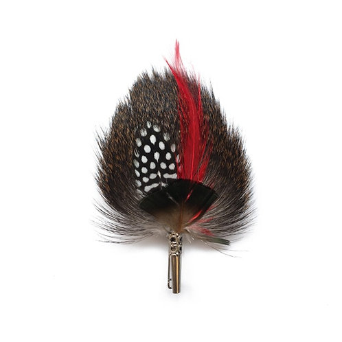 DROP Brooch - Feathers Red & Natural