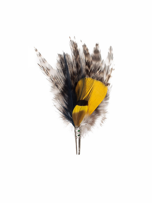 LOOSE Brooch - Feathers Yellow & Blue