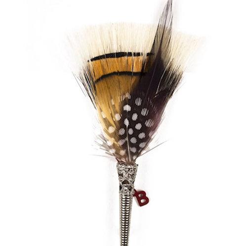 BRUSH Brooch Feathers Burgundy & Light Brown