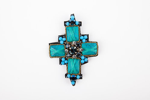 TIARA CENTRAL BROOCH Turquoise