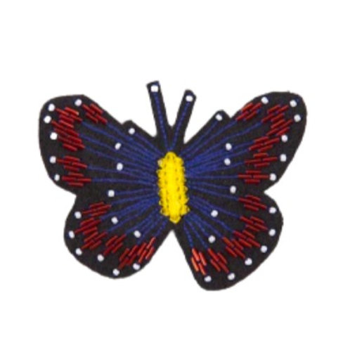 BUTTERFLY Brooch - Embroidery Blue