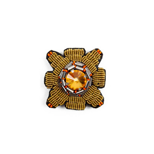 SQUARE Brooch Embroidery Orange