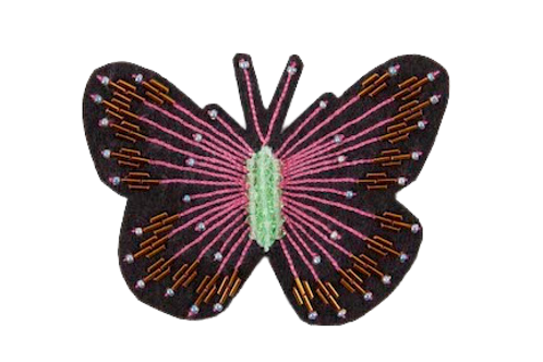 BUTTERFLY Brooch - Embroidery Pink