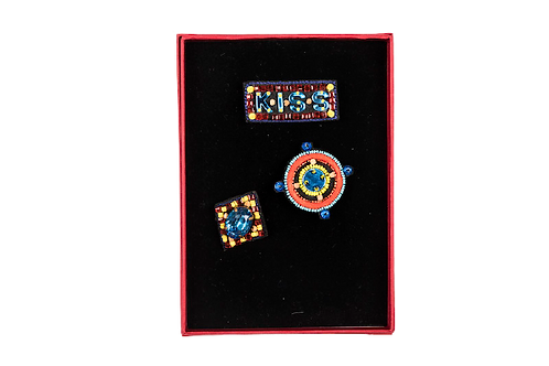 KISS Brooch Set - Embroidery Blue