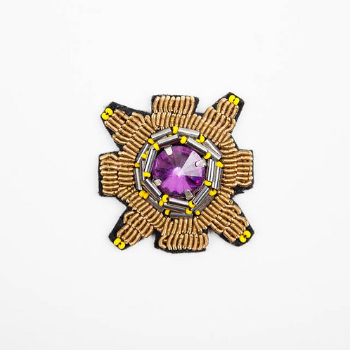 SQUARE Brooch Embroidery Purple