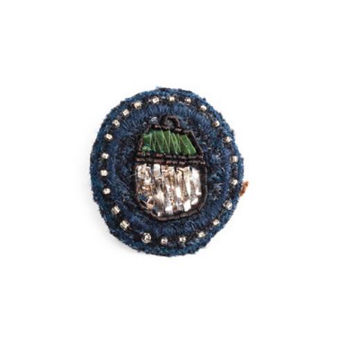 ACORN Brooch Embroidery Mazarine Blue