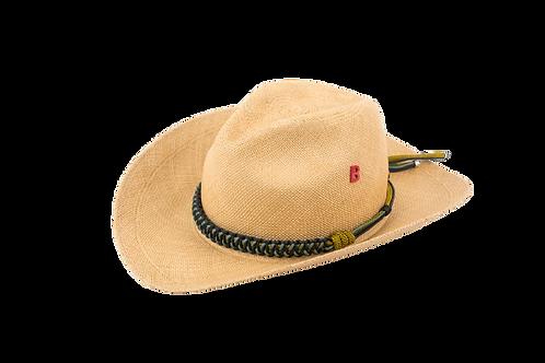 COWBOY Panama Straw  Hat w/Handmade Embellishement