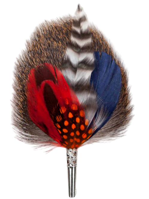 DROP Brooch Feathers Blue & Red