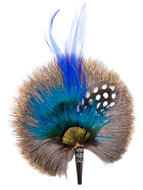 ROUND Brooch Feathers Royal Blues