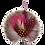 Thumbnail: ROUND Brooch Feathers Burgundy & Orange