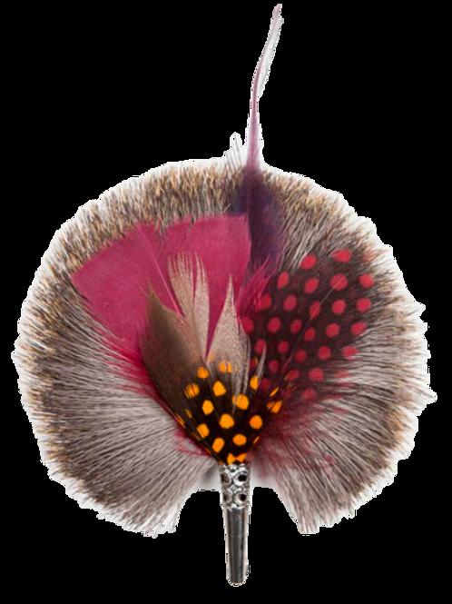 ROUND Brooch Feathers Burgundy & Orange