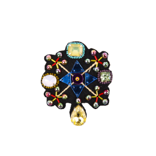 CROSS Brooch - Embroidery Yellow & Blue