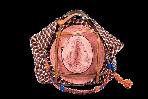 CANDIDE - Cotton Geometric Orange w/Blue & Orange Handmad Embellish