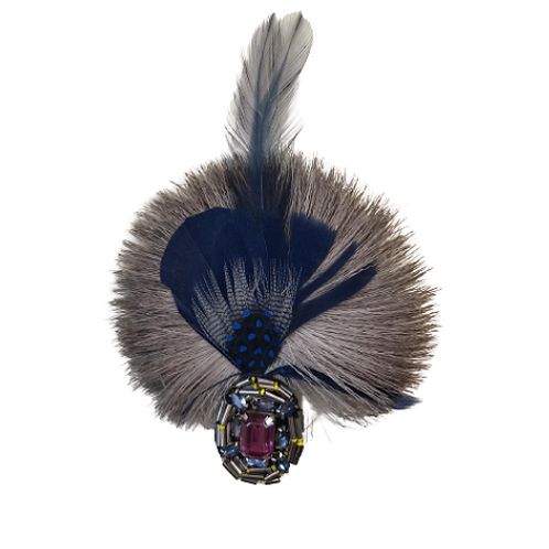 ROUND Brooch Feathers  W/Brooch Purple