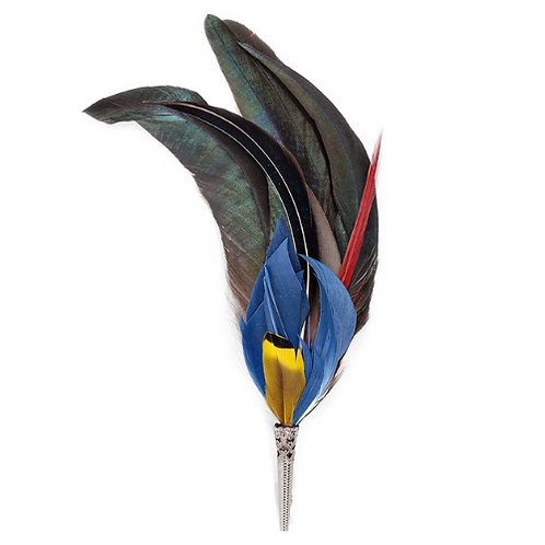 LOOSE Brooch Feathers Blues & Greens