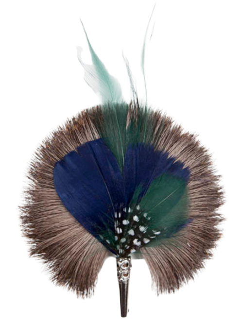 ROUND Brooch Feathers Green & Blue