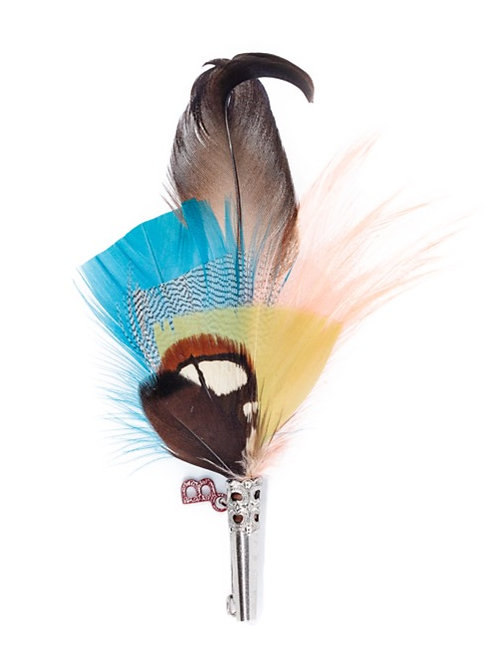 PENCIL Brooch Feathers Turquoise & Old Salmon