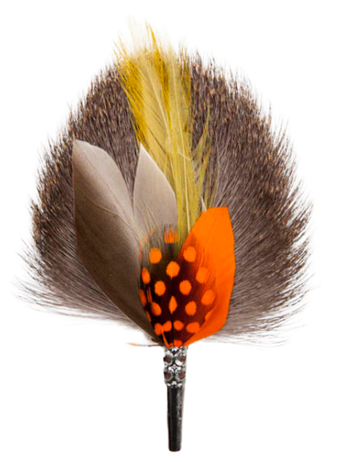DROP Brooch Feathers Yellow & Orange