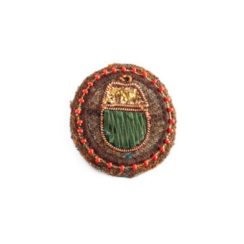 ACORN Brooch - Embroidery Volcano Red