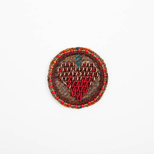 LOVE Brooch Embroidery Volcano Red