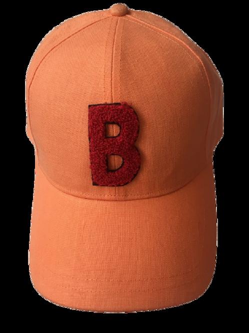 BASEBALL CAP Linen Orange With B red